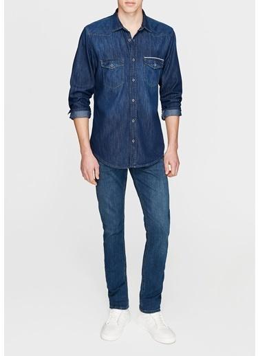 Mavi Jean Gömlek | Andy - Yarı Dar Kesim Lacivert